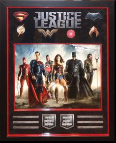 Justice League Signed Large Photo By 6