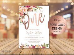 Rose Gold 1st Birthday Invitation, Blush Floral First Birthday Party Invite,baby one birthday invitation DIY PDF-Instant Download  VRD201GWR