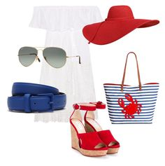 Red, White & Blue by ren87 on Polyvore featuring polyvore, fashion, style, Anjuna, Jimmy Choo, Bueno, Lacoste, Ray-Ban and clothing