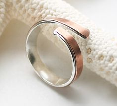 Wrap Ring in Mixed Metal - Sterling Silver and Copper Simple Classic Wrap Design Adjustable Band Organic Shape - MADE TO ORDER In Your Size