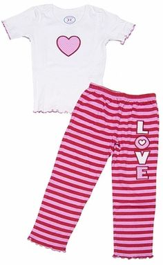 1042983065 Sara s Prints Girls Pink   Red Striped Love Pajamas with Valentine Heart Top