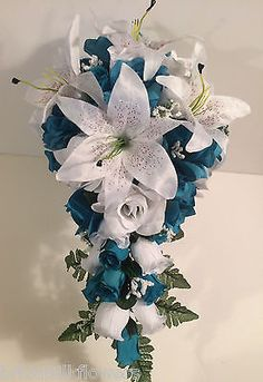 Malibu Turquoise White Lily Silk Rose Wedding Bridal Bouquet Cascade Package 21p
