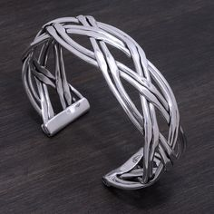 """Sterling Silver Cuff Stamped """"925"""".  not a stock photo. The image is of the actual article that is being sold  Size: 7 adjustable   Sterling silver is an alloy of silver containing 92.5% by mass of silver and 7.5% by mass of other mThe sterling silver standard has a minimum millesimal fineness of 925.   All my jewelry is solid sterling silver. I do not plate.   Hand crafted in Taxco, Mexico.  Will ship within 2 days of order Jewelry Bracelets"""