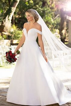 Modern, sleek wedding dress idea - a-line wedding dress with off-the-shoulder neckline- Style Essense of Australia - Learn more about this dress on WeddingWire! dresses modern sleek Wedding Dress out of Essense of Australia - Sleek Wedding Dress, Dream Wedding Dresses, Designer Wedding Dresses, Bridal Dresses, Essence Wedding Dresses, Ballgown Wedding Dress, Satin Wedding Dresses, Bardot Wedding Dress, Lace Wedding