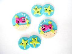 Button Little Guppy handmade polymer clay buttons by digitsdesigns