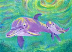 and baby sketch Mom and Baby Dolphin - Art Print Beach house - fun kids decor - nursery - sea life - whimsical - happy - under water scene - aqua - sea pinteres dolphin art Dolphin Painting, Dolphin Art, Dolphin Images, Baby Sketch, Dolphins Tattoo, Baby Dolphins, Happy Paintings, Mom And Baby, Kids Decor