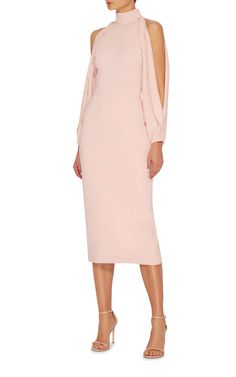 Cushnie et Ochs Pink Crepe Dress with a High, Banded Neckline and  Cold Shoulders that end in an Open Balloon Sleeve. The Silhouette is Classic Fitted Sheath that ends just below the Knee. For Sparkle I've Got Pink Conch Pearl Earrings and a Magnificent Violet Opal Ring. I've got Fabulous Rosewood Snake Platform Sandals and a Mixed Rose Puzzle Bag (It's all on this board). This is Cocktail Greatness - Gabrielle