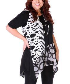 Black & White Polka Dot Sidetail Top - Plus #zulily #zulilyfinds
