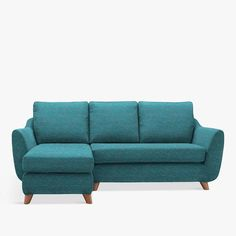 G Plan Sectional Sofa, Blue. Small space sectional perfect for apartments and small living rooms. Mid-century style.