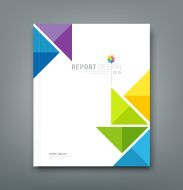Illustration of Cover Annual report, colorful windmill paper origami design vector art, clipart and stock vectors. Layout Design, Graphic Design Layouts, Banner Design, Logo Design, Origami Design, Photoshop, Cover Page Template, Triangle Design, Triangle Shape