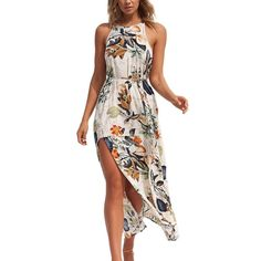 da5c96551c DongDong Women Summer Beach Floral Flower Long Sleeveless Bohe Sexy Halter  Leaves Dresses