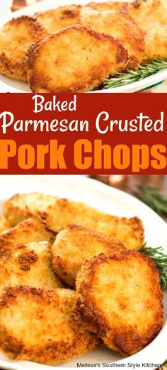 Baked Parmesan Crusted Pork Chops Baked P Easy Pork Chop Recipes, Pork Recipes, Cooking Recipes, Pork Casserole Recipes, What's Cooking, Recipies, Baked Parmesan Pork Chops, Parmesean Crusted Pork Chops, Parmesan