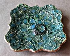 Plato de CeramicTrinket plato de joyería del pavo real por dgordon
