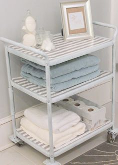 Laminate the top of one with patterned contact paper to make it waterproof for bathroom storage.