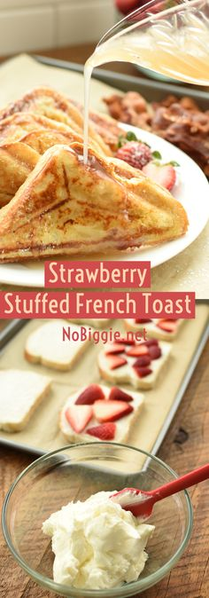 Strawberry Stuffed French Toast - - Take french toast to the next level by stuffing it with fresh strawberries and sweetened cream cheese. Homemade French Toast, Make French Toast, Stuffed French Toast, Breakfast Dishes, Breakfast Recipes, Breakfast Dessert, Breakfast Time, Breakfast Casserole, Strawberry French Toast