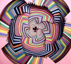 Colored paper art by Jen Stark. Jen Stark, Paper Art Design, What's My Favorite Color, Paper Installation, Psy Art, Cardboard Art, Fractal Art, Fractals, Colored Paper