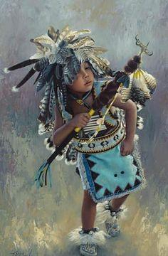 "☆ ""Little Kootenai Dancer"" - Original Oil -Western and Native American Fine Art by Karen Noles. Native American Children, Native American Wisdom, Native American Pictures, Native American Beauty, American Indian Art, Native American History, American Indians, Native American Paintings, Native American Artists"