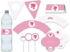Festa Boneca, silhueta, barbie - flores, provençal - rosa e branco aniverários - chá de bebê -  Tuty - Arte & Mimos www.tuty.com.br