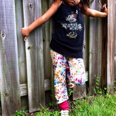 Paint splash / sangria pink monkey pants by HapasMamas on Etsy,