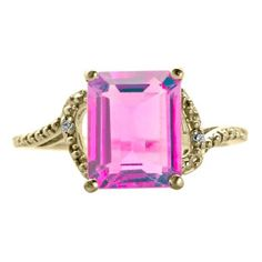 Simple Yellow Gold Emerald-Cut Pink Sapphire Diamond Ring Jewelry Available Exclusively at Gemologica.com