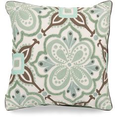 Surya Alhambra Embroidered  Pillow - Seafoam and Taupe ($135) ❤ liked on Polyvore featuring home, home decor, throw pillows, pillow, patio throw pillows, cotton throw pillows, sea home decor, inspirational throw pillows and surya