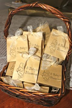 """Classic Winnie the Pooh Baby Shower """"seedlings as thank you gifts"""""""