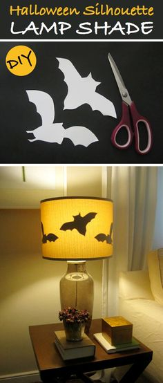 Awesome Halloween shade lamp Other patterns would look great too (I'm gonna try to make one with witch hats and cats)