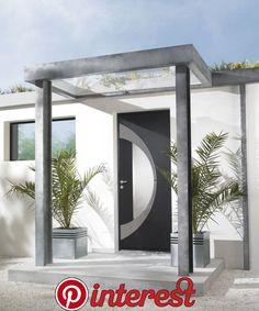 DIY Garden Decoration   DIY Garden Decoration Modern Entrance Door, Front Door Entrance, House Entrance, Entry Doors, Roof Design, House Design, Front Door Canopy, Green Front Doors, House Cladding