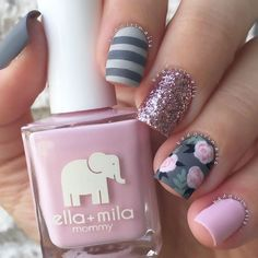 """Fall Floral more pink and grey, guess I'm really feeling this color combo Featuring @flossgloss """"Pink Nugget (pink glitter) and @ellamilapolish """"So In Love"""" (pastel pink) & """"Matte-ly In Love"""" (matte topcoat) Tutorial coming soon Nail Design, Nail Art, Nail Salon, Irvine, Newport Beach"""