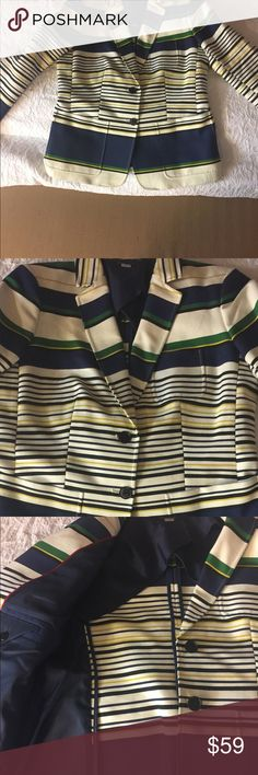 Tommy Hilfiger Navy Striped Jacket Striking Modern Jacket by Hilfiger size L 93%cotton 7% nylon Full lining is 100% poly Tommy Hilfiger Jackets & Coats Blazers