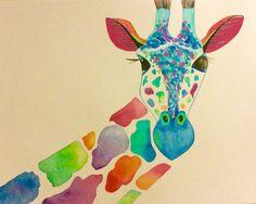 Original-peinture-a-laquarelle-de-girafe