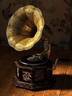 Gramófono antiguo.                                                                                                                                                                                 Más