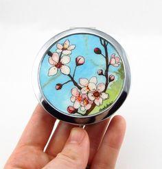 Japanese Cherry Blossoms, Original Art Compact Mirror by Sarah-Lambert Cook