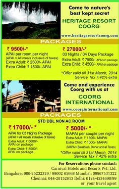 Coorg International Enjoy 1N stay at Coorg International at Rs. 5000