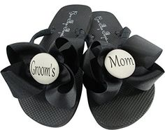 0a77fe58a Wedding Flip Flops in Navy with Bows for Mother of the Groom Grooms Mom  gt