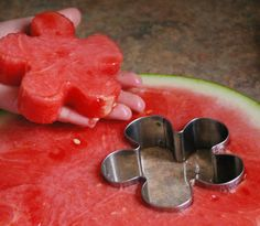 "Make watermelong ""cookies"" - easy, delicious, and perfect way to involve kids in hosting for a summer BBQ."