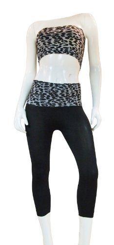 Yoga capri Pants With Fold Down Waist and Foil LOVE design