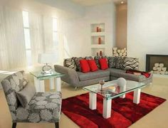 Gray and red living room.