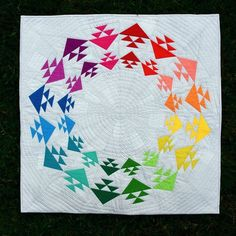 Taste the Rainbow quilt pattern by Meadow Mist Designs Baby Quilt Size, Traditional Quilt Patterns, Rainbow Quilt, Contemporary Quilts, Quilt Modern, Thing 1, Taste The Rainbow, Quilt Festival, Paper Piecing Patterns