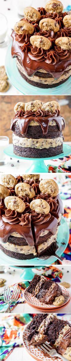 CHOCOLATE CHIP COOKIE DOUGH CAKE - cake, chocolate, dessert
