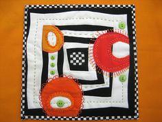 """Mini Art Quilt #5 or """"Curvy Squares"""""""