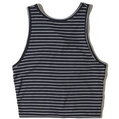 Hollister Ribbed High-Neck Crop Top ($4.99) ❤ liked on Polyvore featuring tops, shirts, navy stripe, striped shirt, navy blue crop top, high neck top, shirt crop top and striped crop top