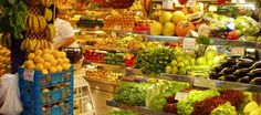 Gran Canaria produces plenty of fruit and vegetables. Buy homegrown fruit and veg, along with cheese and wine at the island's markets. Fruit And Veg, Fruits And Vegetables, Spain Holidays, Canario, Island, Up, Food, Canary Islands, Palms