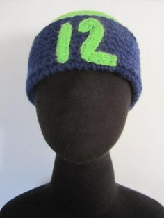f2153d1e13a Seahawks Beanie-Hat 12th-Man-Fan - hand crochet in Seahawks colors. Bright  green and navy blue. Su