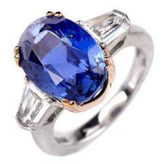 Burma No Heat Natural Sapphire Diamond Platinum Ring