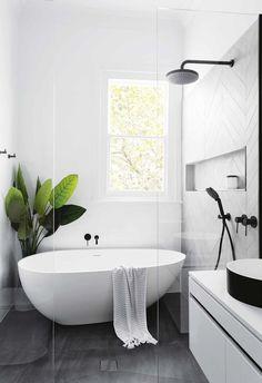 Black and White Bathroom Design . Black and White Bathroom Design . A Contrasting Black and White Bathroom Echoes the Floor Simple Bathroom, Bathroom Design Black, Bathroom Tile Designs, Bathrooms Remodel, Bathroom Style, Bathroom Interior Design, Bathroom Decor, Bathroom Design, Shower Room