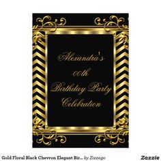 Gold Floral Black Chevron Elegant Birthday Party 5x7 Paper Invitation Card