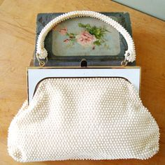 Vintage White Purse, White Bead Purse by LaRegale, Gold and White Harp With Handle, 60s Handbag, Easter, Spring Tea.