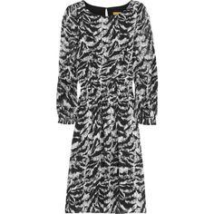 Alice + Olivia Tasha stretch-silk dress (640 BRL) ❤ liked on Polyvore featuring dresses, black, loose dresses, sleeved dresses, elastic dress, loose fit dress and loose sleeve dress