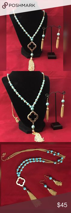 🌺🦋Beaded tassel necklace & earring set 🦋🌺 Very stylish & elegant Beaded Necklace with clover  tassel pendant & tassel earrings set .   ❣️ Brand new . No tags. ❣️ Complimentary gift box / jewelry pouch on purchase . Pls confirm preference while buying .  ❣️ ( Christmas, gift , stocking stuffer , party , prom , special occasion , birthday , present ) Jewelry Necklaces